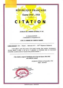 citation Corps d'Armée ETOILE DE VERMEIL